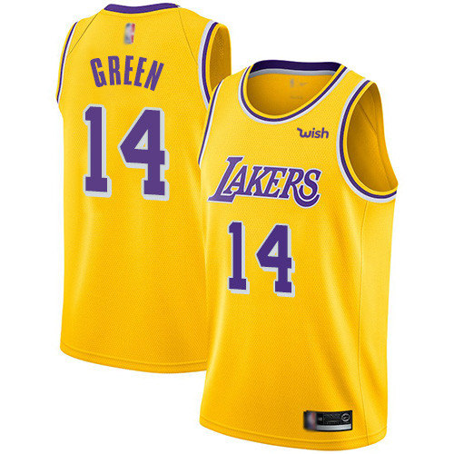 Lakers #14 Danny Green Gold Basketball Swingman Icon Edition Jersey