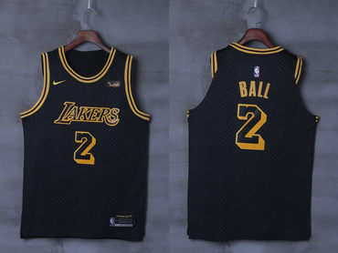 7d1a713fa Lakers 2 Lonzo Ball Black City Edition Nike Authentic Jersey
