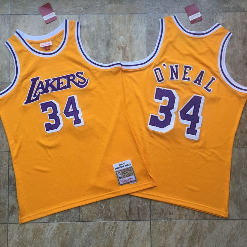 Lakers 34 Shaquille O'Neal Yellow 1996-97 Hardwood Classics Jersey