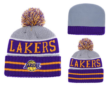 Lakers Purple Banner Block Cuffed Knit Hat With Pom YD