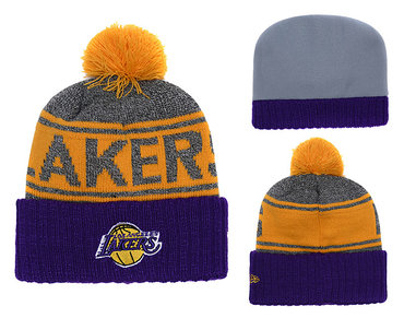 Lakers Team Logo Purple Cuffed Knit Hat With Pom YD