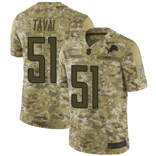 Lions #51 Jahlani Tavai Camo Men's Stitched Football Limited 2018 Salute To Service Jersey
