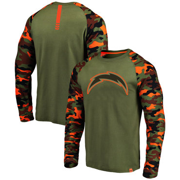 24cdeeb5c Los Angeles Chargers Heathered Gray Camo NFL Pro Line By Fanatics Branded  Long Sleeve T-