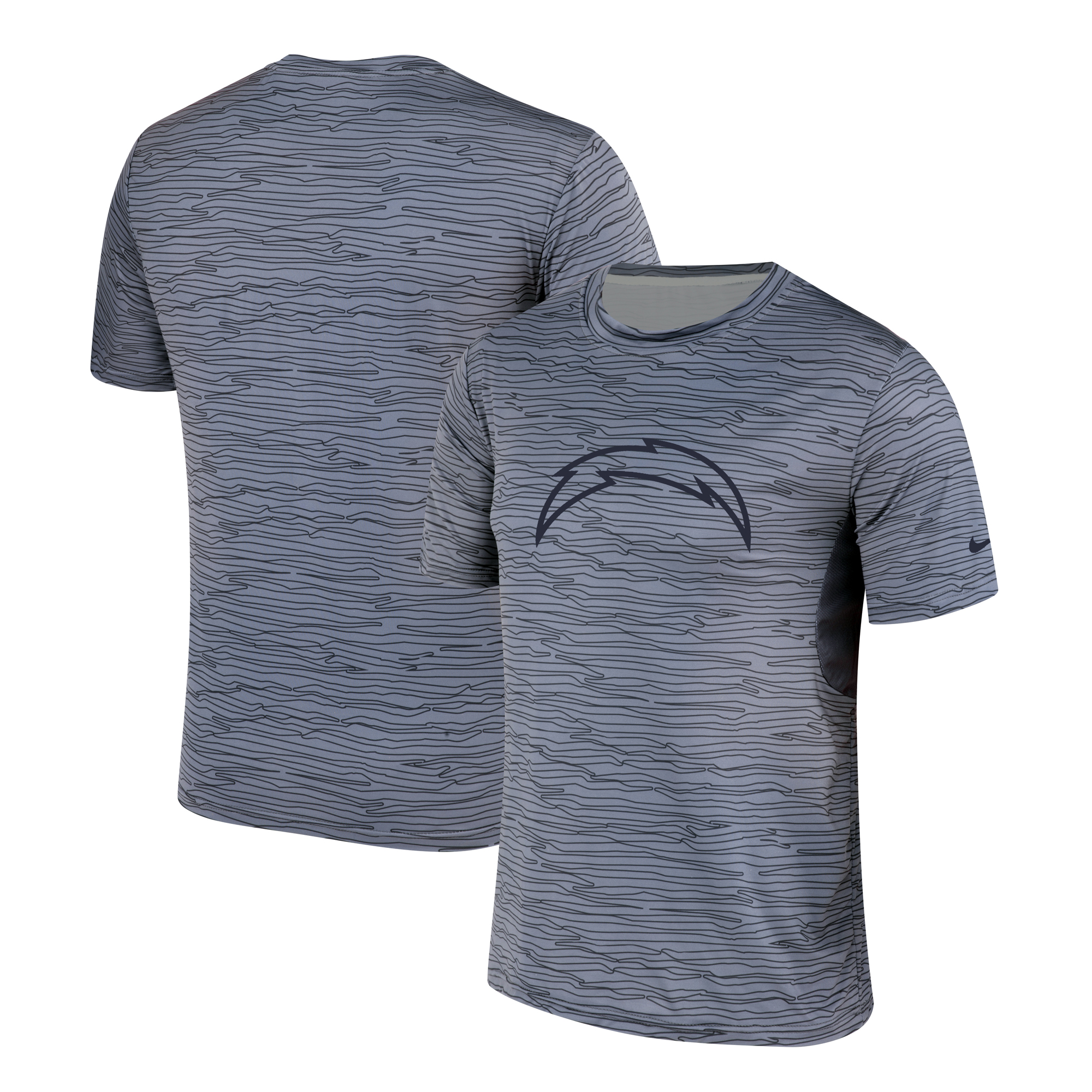 Los Angeles Chargers Nike Gray Black Striped Logo Performance T-Shirt
