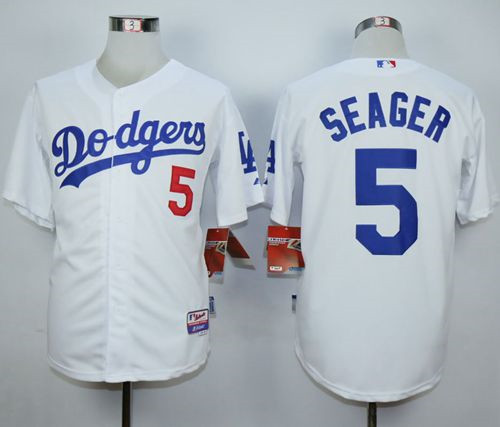 48672a6fc Los Angeles Dodgers  5 Corey Seager White Cool Base Stitched MLB Jersey