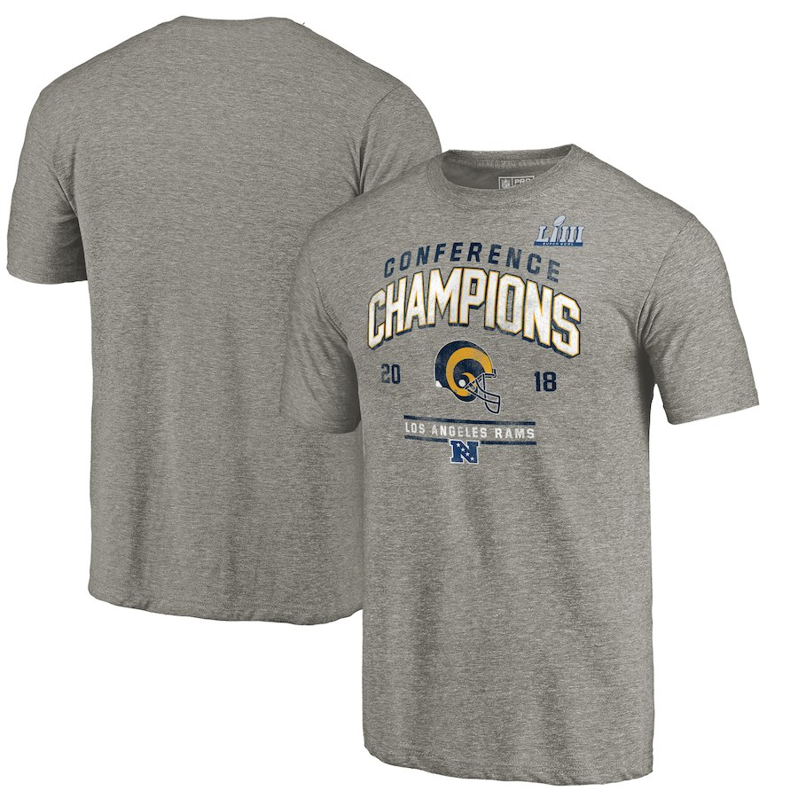 Los Angeles Rams NFL Pro Line By Fanatics Branded 2018 NFC Champions Halfback Sweep Tri Blend T-Shirt Heather Gray
