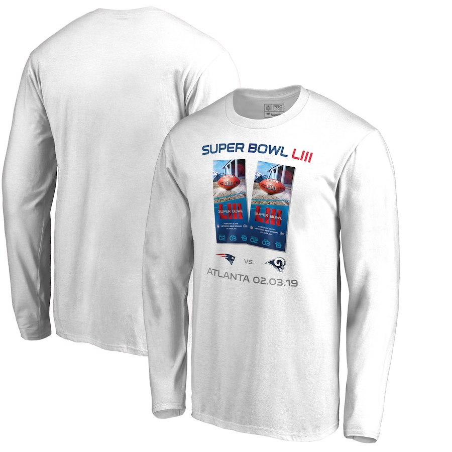 Los Angeles Rams Vs. New England Patriots NFL Pro Line By Fanatics Branded Super Bowl LIII Dueling Ticket Long Sleeve T-Shirt White