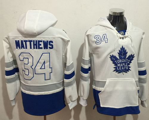 Maple Leafs  34 Auston Matthews White Name   Number Pullover NHL Hoodie 1ff681cb9