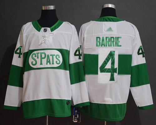 Maple Leafs #4 Tyson Barrie White Authentic St. Pats Stitched Hockey Jersey