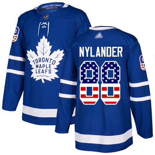 Maple Leafs #88 William Nylander Blue Home Authentic USA Flag Stitched Hockey Jersey