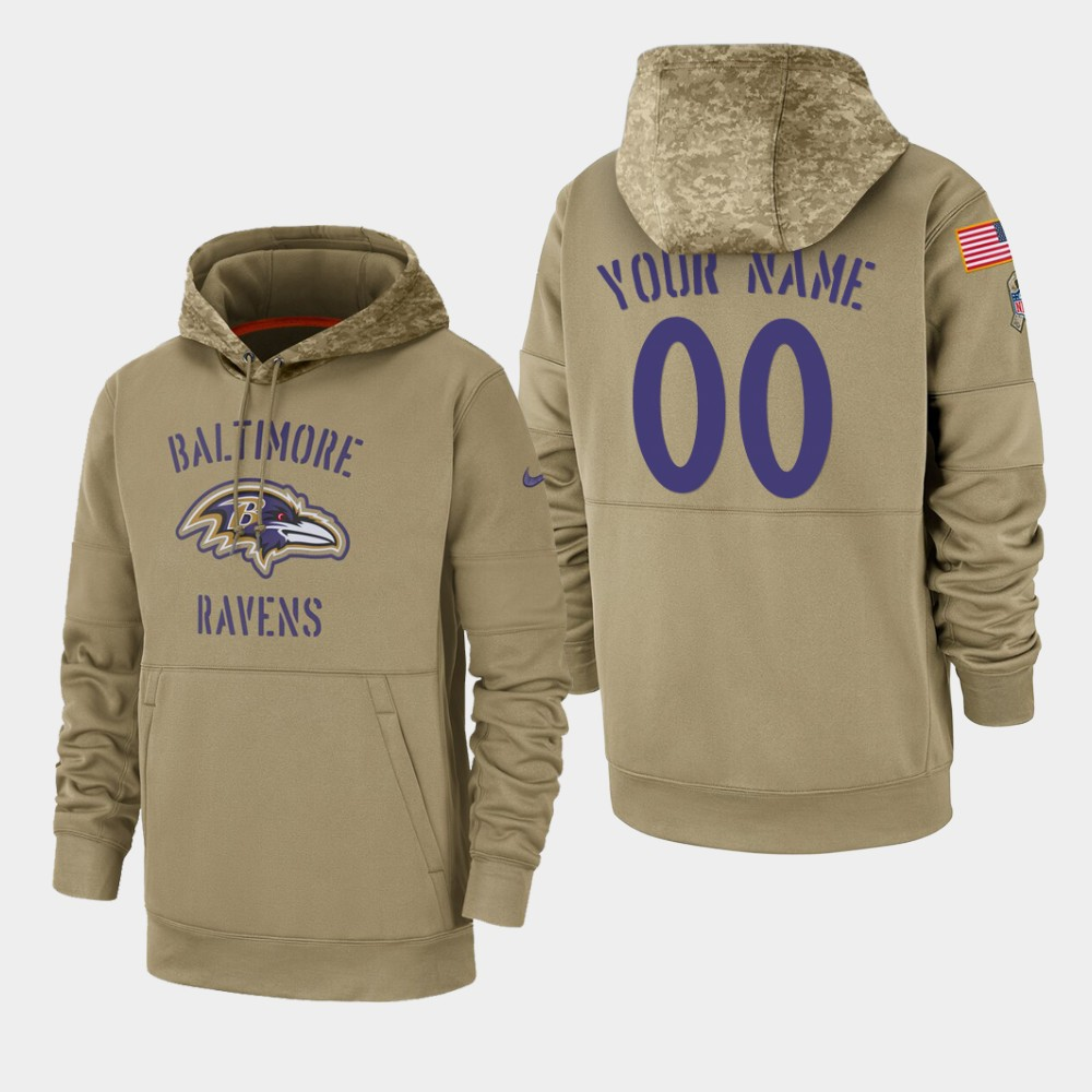 Men's Baltimore Ravens Custom 2019 Salute to Service Sideline Therma Pullover Hoodie - Tan