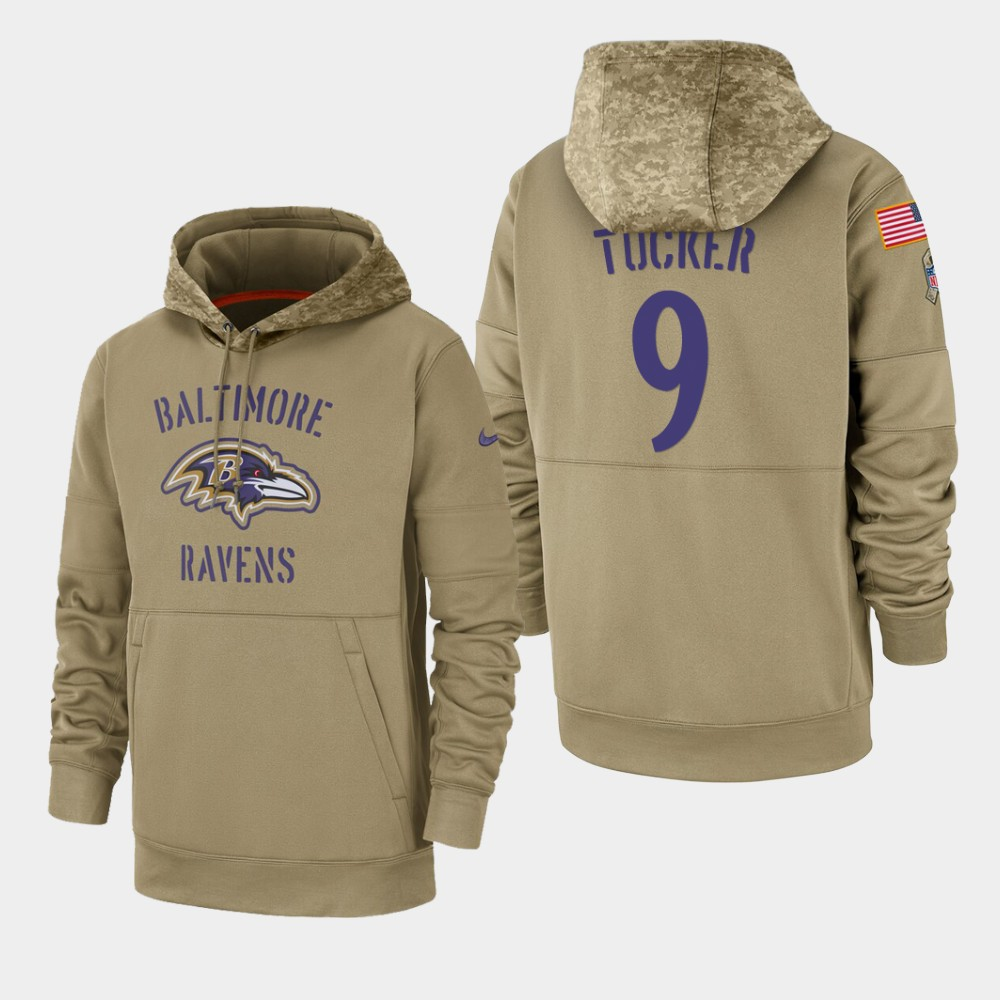Men's Baltimore Ravens Justin Tucker 2019 Salute to Service Sideline Therma Pullover Hoodie - Tan