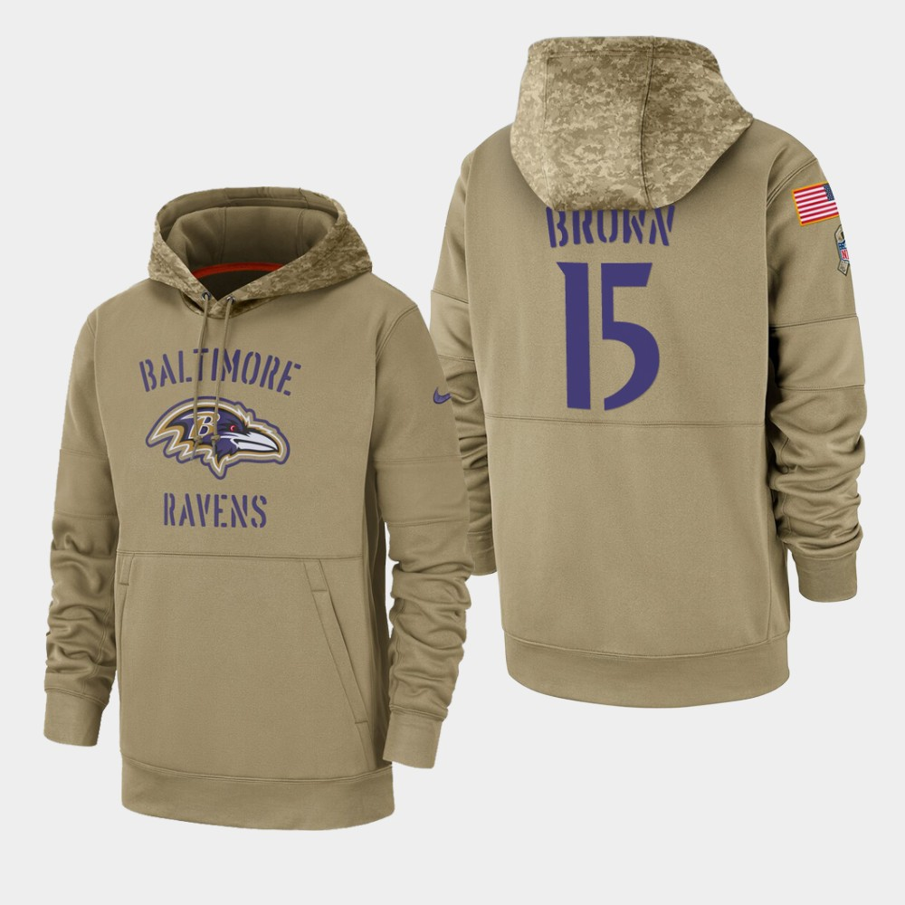 Men's Baltimore Ravens Marquise Brown 2019 Salute to Service Sideline Therma Hoodie - Tan