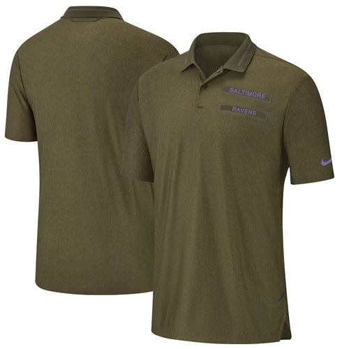 Men's Baltimore Ravens Salute to Service Sideline Polo Olive
