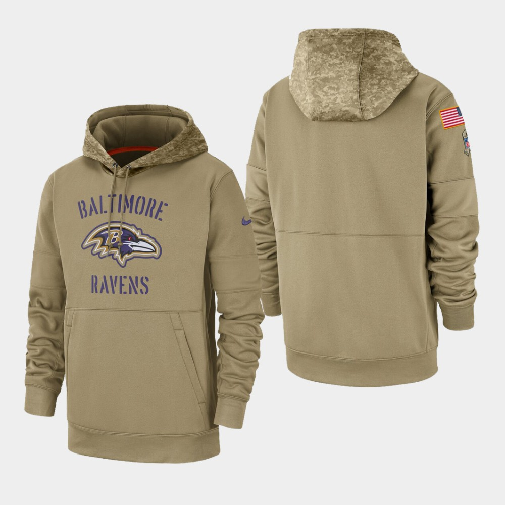 Men's Baltimore Ravens Tan 2019 Salute to Service Sideline Therma Pullover Hoodie