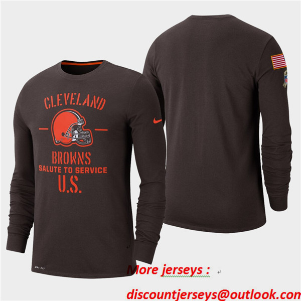 Men's Browns Brown 2019 Salute to Service Sideline Long Sleeve T-Shirt