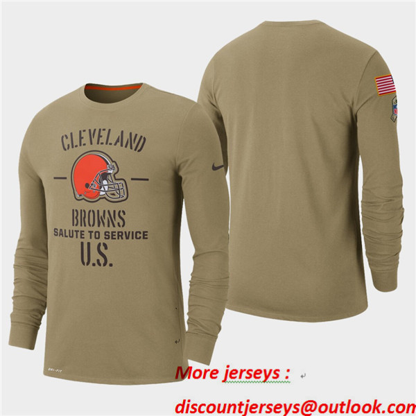 Men's Browns Tan 2019 Salute to Service Sideline Long Sleeve T-Shirt