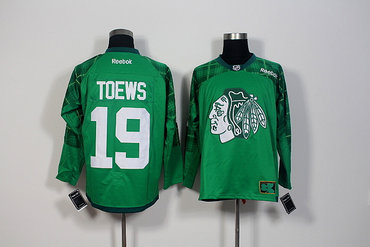 d64a54345 Men s Chicago Blackhawks  19 Jonathan Toews Green Stitched St. Patrick s Day  Replica NHL Jersey