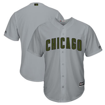 Men's Chicago Cubs Majestic Gray 2018 Memorial Day Cool Base Team Custom Jersey