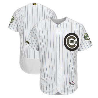 Men's Chicago Cubs Majestic White 2018 Memorial Day Authentic Collection Flex Base Team Custom Jersey