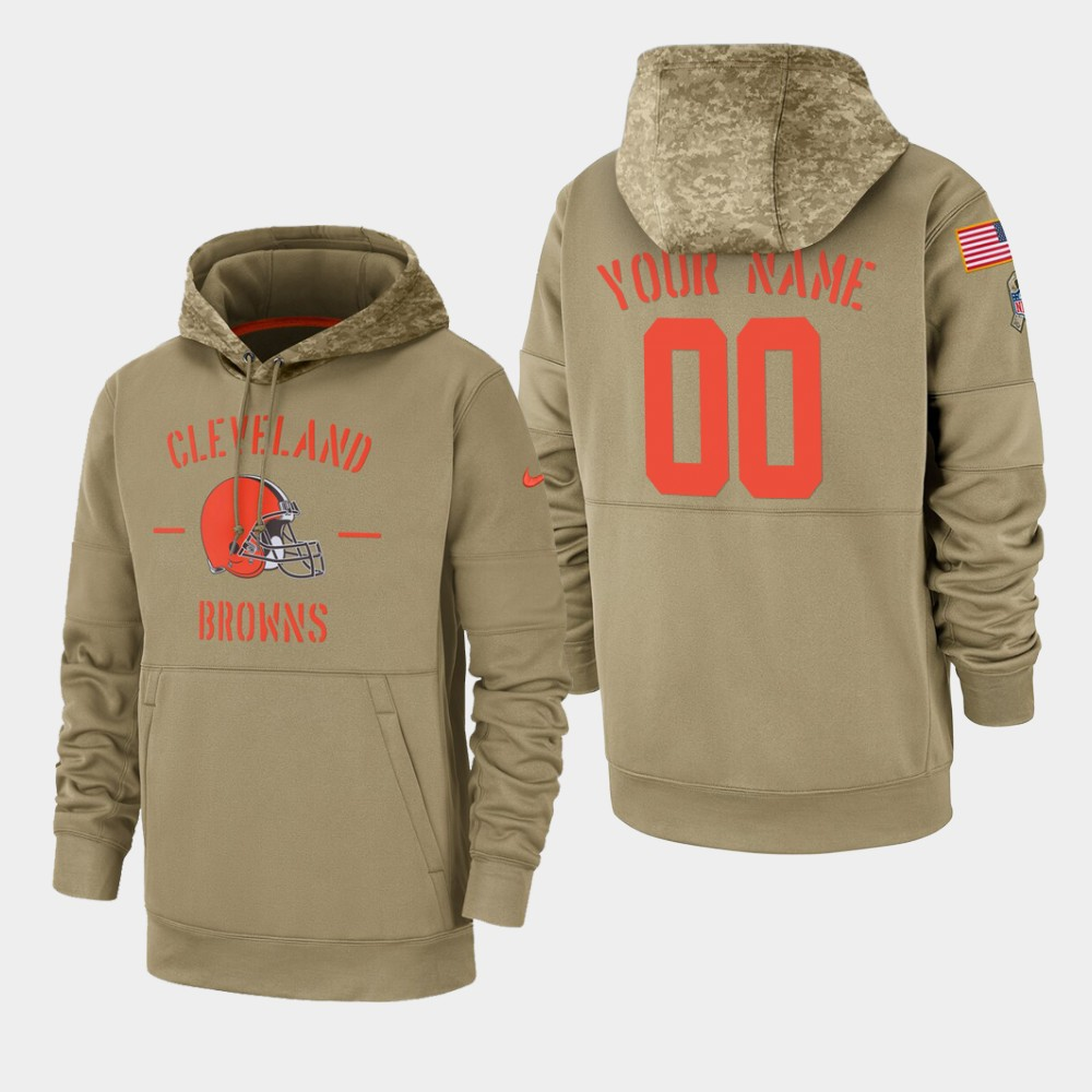 Men's Cleveland Browns Custom 2019 Salute to Service Sideline Therma Pullover Hoodie - Tan
