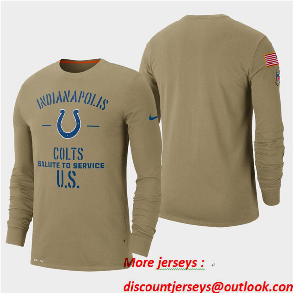 Men's Colts Tan 2019 Salute to Service Sideline Long Sleeve T-Shirt