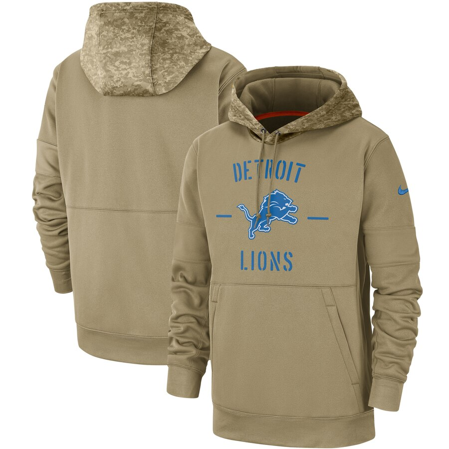 Men's Detroit Lions 2019 Salute To Service Sideline Therma Pullover Hoodie