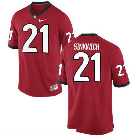 Men's Georgia Bulldogs #21 Frank Sinkwich Red Stitched College Football 2016 Nike NCAA Jersey
