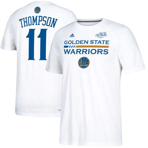 Men s Golden State Warriors 11 Klay Thompson White 2017 NBA Finals Bound  Gametime Shooter T- 64bf27a09