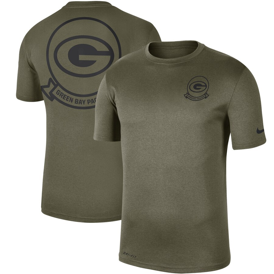 Men's Green Bay Packers Nike Olive 2019 Salute To Service Sideline Seal Legend Performance T-Shirt