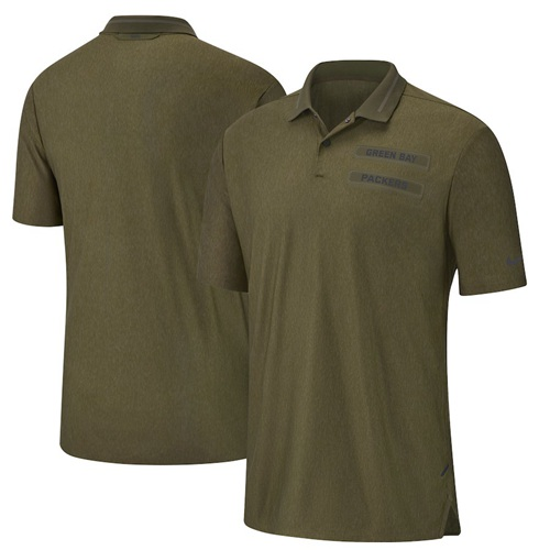 Men's Green Bay Packers Salute to Service Sideline Polo Olive