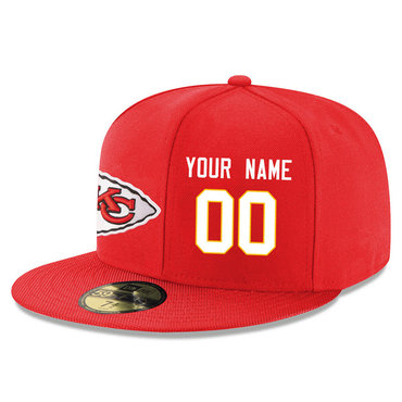 Men's Kansas City Chiefs Red Color Snapback Custom Hat (Stitched any name&number)