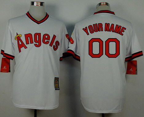 9688b420942 Men s Los Angeles Angels White Throwback Customized Jersey