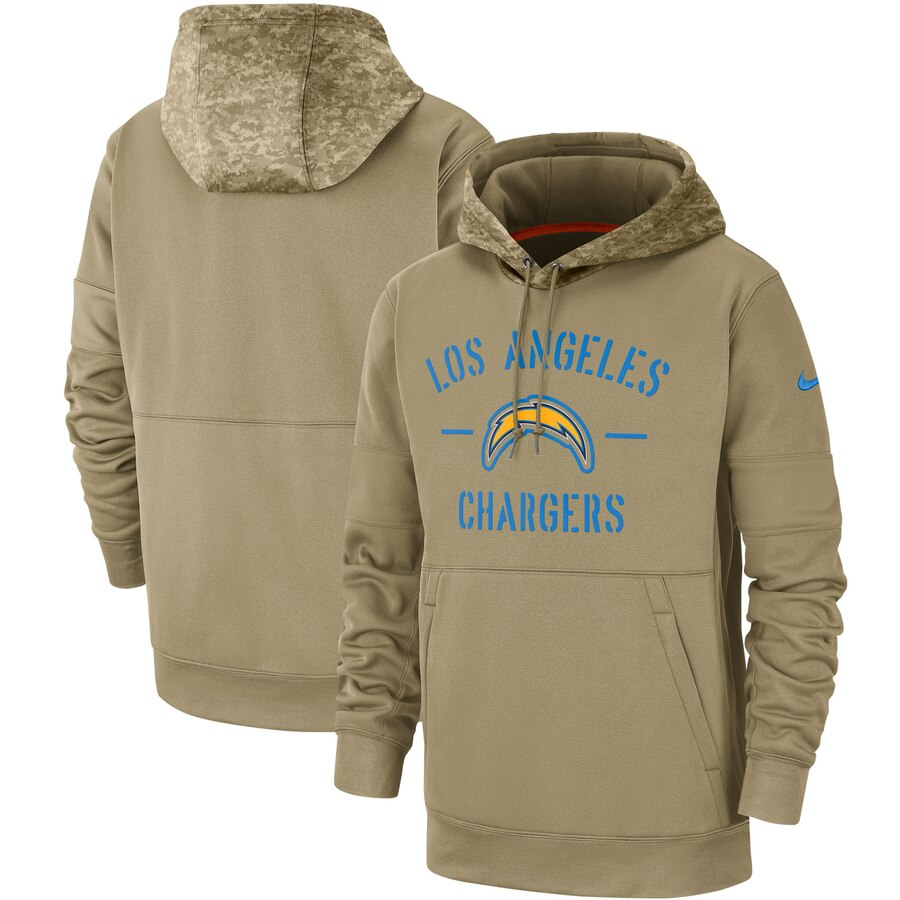 Men's Los Angeles Chargers 2019 Salute To Service Sideline Therma Pullover Hoodie