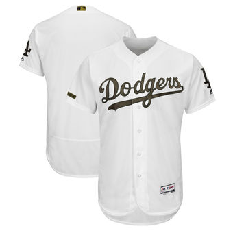 Men's Los Angeles Dodgers Majestic White 2018 Memorial Day Authentic Collection Flex Base Team Custom Jersey