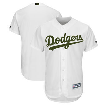 Men's Los Angeles Dodgers Majestic White 2018 Memorial Day Cool Base Team Custom Jersey