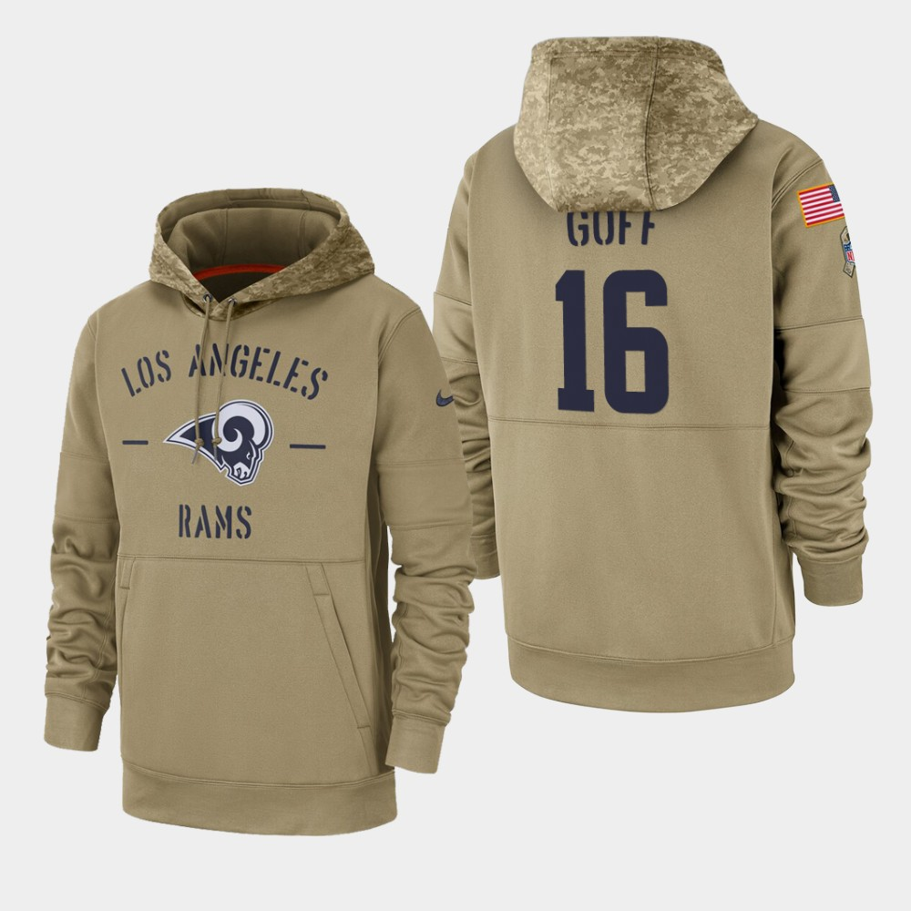 Men's Los Angeles Rams Jared Goff 2019 Salute to Service Sideline Therma Pullover Hoodie - Tan