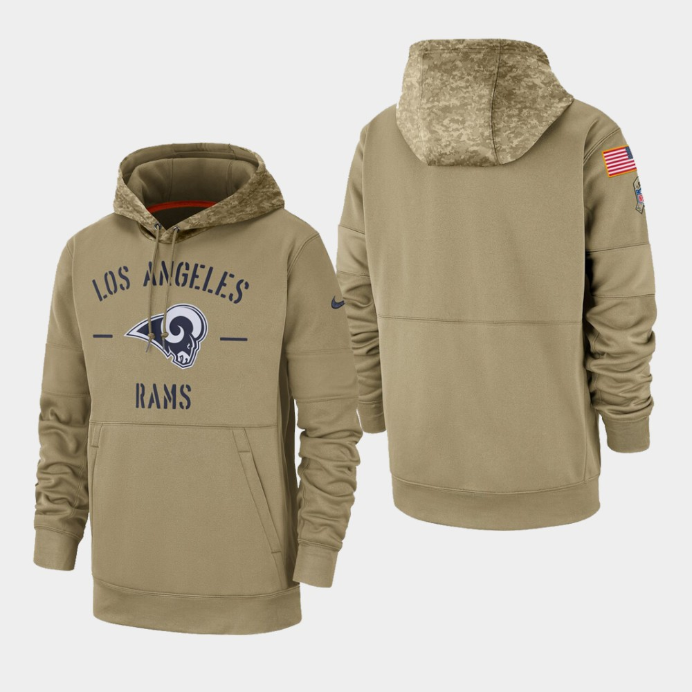 Men's Los Angeles Rams Tan 2019 Salute to Service Sideline Therma Pullover Hoodie