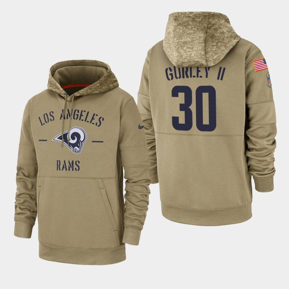 Men's Los Angeles Rams Todd Gurley II 2019 Salute to Service Sideline Therma Pullover Hoodie - Tan