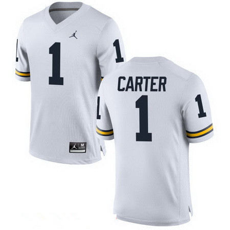 Men's Michigan Wolverines #1 Anthony Carter Retired White Stitched College Football Brand Jordan NCAA Jersey