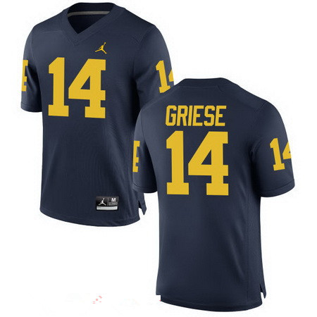 Men's Michigan Wolverines #14 Brian Griese Retired Navy Blue Stitched College Football Brand Jordan NCAA Jersey