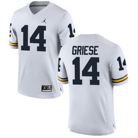 Men's Michigan Wolverines #14 Brian Griese Retired White Stitched College Football Brand Jordan NCAA Jersey