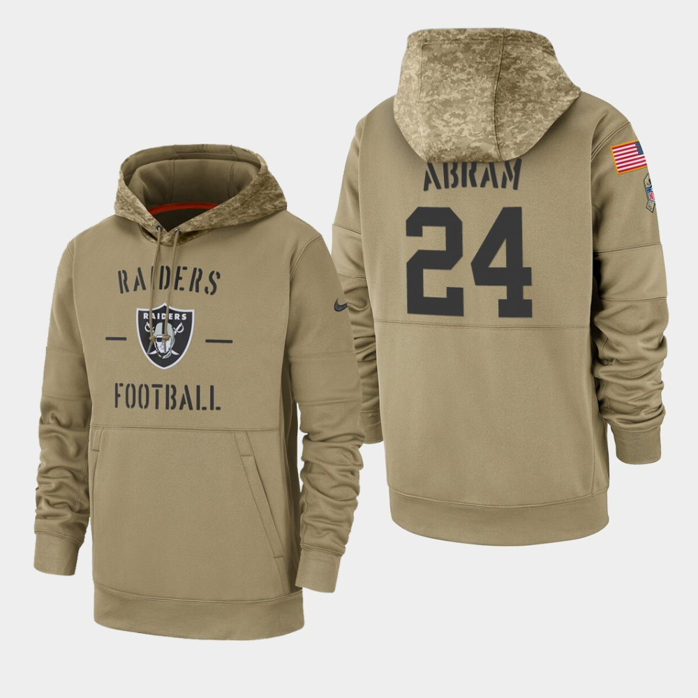 Men's Oakland Raiders #24 Johnathan Abram 2019 Salute to Service Sideline Therma Hoodie - Tan