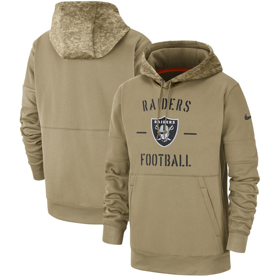 Men's Oakland Raiders 2019 Salute To Service Sideline Therma Pullover Hoodie