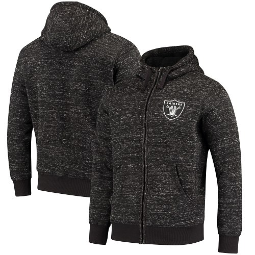 Men's Oakland Raiders G-III Sports by Carl Banks Heathered Black Discovery Sherpa Full-Zip Jacket
