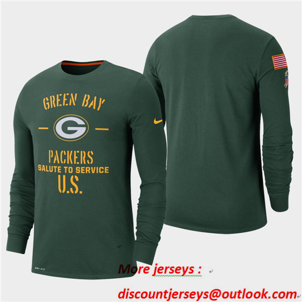 Men's Packers Green 2019 Salute to Service Sideline Long Sleeve T-Shirt