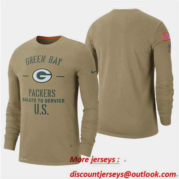 Men's Packers Tan 2019 Salute to Service Sideline Long Sleeve T-Shirt