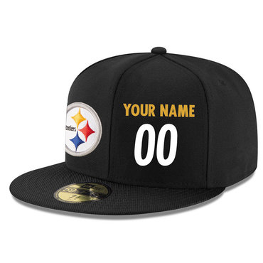 Men's Pittsburgh Steelers Black Color Snapback Custom Hat (Stitched any name&number) 1