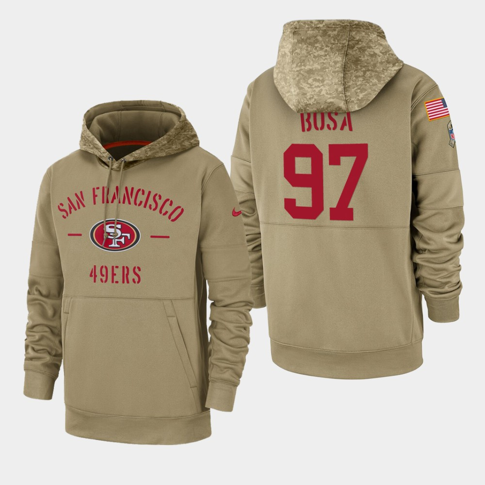 Men's San Francisco 49ers Nick Bosa 2019 Salute to Service Sideline Therma Pullover Hoodie - Tan