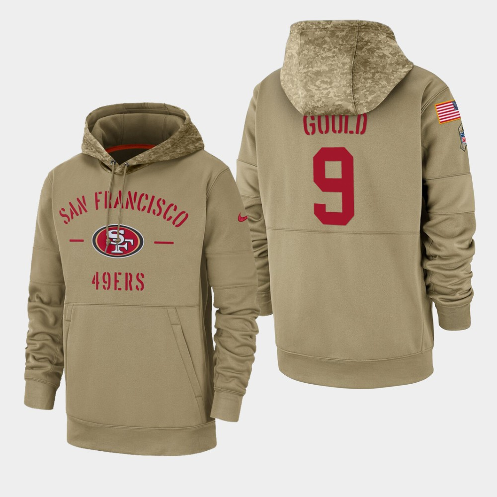 Men's San Francisco 49ers Robbie Gould 2019 Salute to Service Sideline Therma Pullover Hoodie - Tan